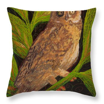 Throw Pillow featuring the painting Pueo by Anna Skaradzinska