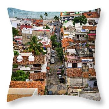 Puerto Vallarta Street Throw Pillow by Elena Elisseeva
