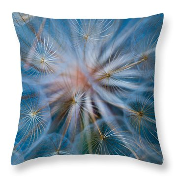Puff-ball In Blue Throw Pillow