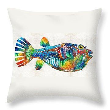 Puffer Fish Art - Blow Puff - By Sharon Cummings Throw Pillow