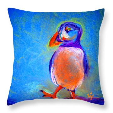 Funky Puffin Dancing Throw Pillow