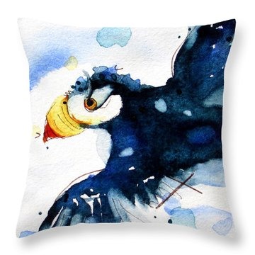 Puffin Flight Throw Pillow
