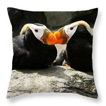 Puffin Friends 2 Throw Pillow