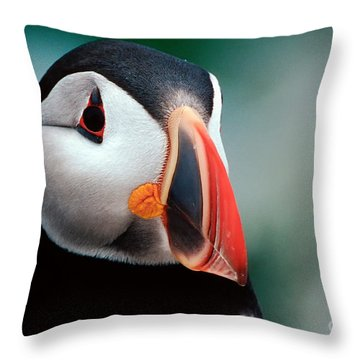 Throw Pillow featuring the photograph Puffin Head Shot by Jerry Fornarotto