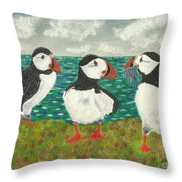 Puffin Island Throw Pillow by John Williams