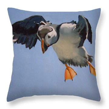 Puffin Landing Throw Pillow by Eric Burgess-Ray