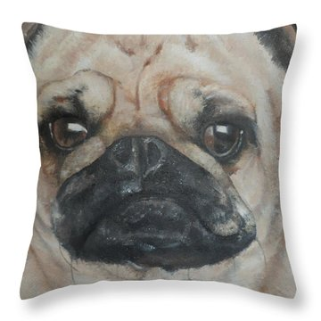 Throw Pillow featuring the painting PuG by Cherise Foster