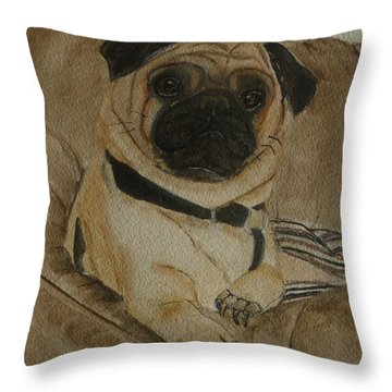 Pug Dog All Ready To Cuddle Throw Pillow by Kelly Mills