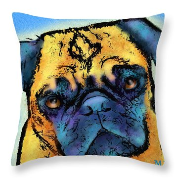 Pug Throw Pillow by Marlene Watson