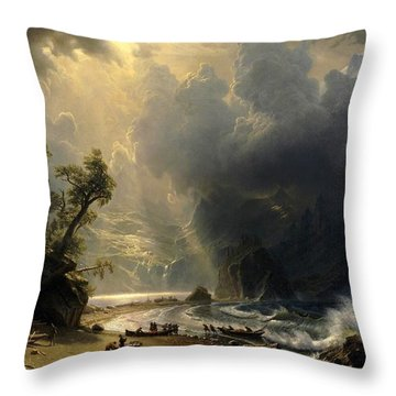 Throw Pillow featuring the painting Puget Sound On The Pacific Coast by Albert Bierstadt