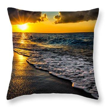 Puka Beach Sunset Throw Pillow
