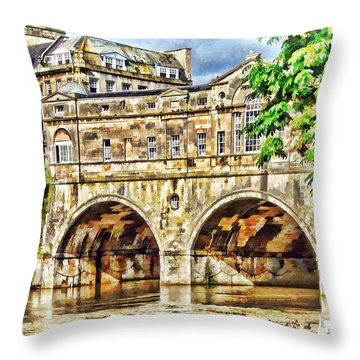 Pulteney Bridge Bath Throw Pillow