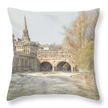 Throw Pillow featuring the digital art Pulteney Bridge Bath by Ron Harpham