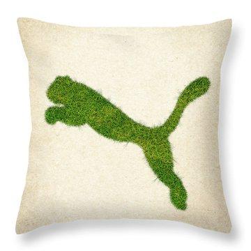 Puma Grass Logo Throw Pillow by Aged Pixel