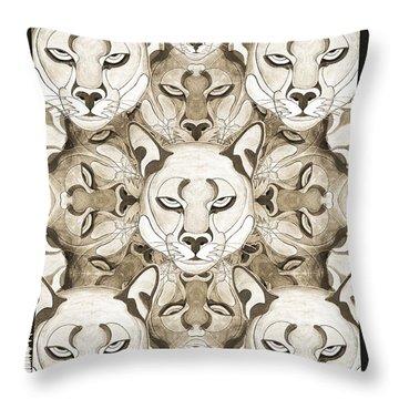 Throw Pillow featuring the mixed media Puma Spirits by Joseph J Stevens