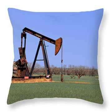 Pump Jack A Texas Icon Throw Pillow by Christine Till