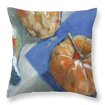 Pumpkin And Gourds Still Life Throw Pillow by Mary Hubley