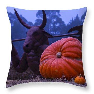 Pumpkin And Minotaur Throw Pillow by Garry Gay