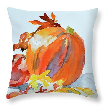Throw Pillow featuring the painting Pumpkin And Pomegranate by Beverley Harper Tinsley