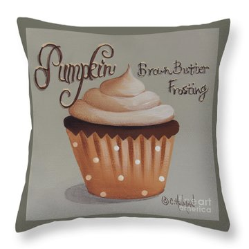Pumpkin Brown Butter Frosting Cupcake Throw Pillow by Catherine Holman