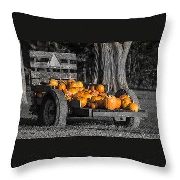 Pumpkin Cart Throw Pillow