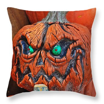 Pumpkin Face Throw Pillow