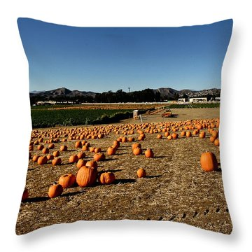 Throw Pillow featuring the photograph Pumpkin Field by Michael Gordon