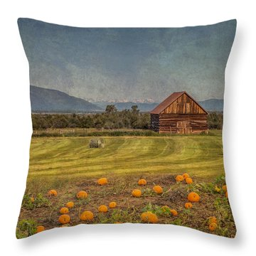 Throw Pillow featuring the photograph Pumpkin Field Moon Shack by Patti Deters