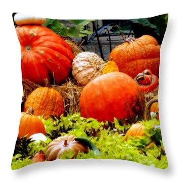 Pumpkin Harvest Throw Pillow by Karen Wiles