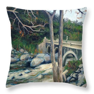 Pumpkin Hollow Bridge Throw Pillow