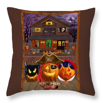 Pumpkin Masquerade Throw Pillow by Glenn Holbrook