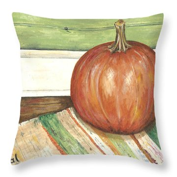 Pumpkin On A Rag Rug Throw Pillow