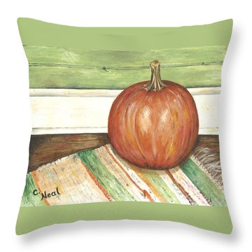 Pumpkin On A Rag Rug Throw Pillow