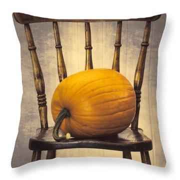 Pumpkin On Chair Throw Pillow by Amanda Elwell