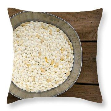 Pumpkin Seeds In A Bucket Throw Pillow