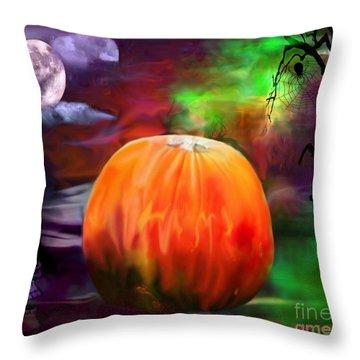 Pumpkin Skull Spider And Moon Halloween Art Throw Pillow by Annie Zeno