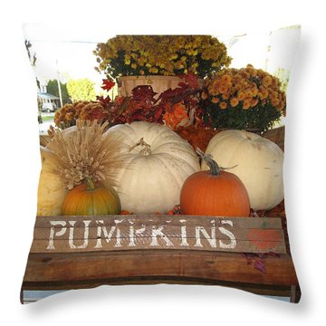 Pumpkin Welcome  Throw Pillow by Barbara McDevitt