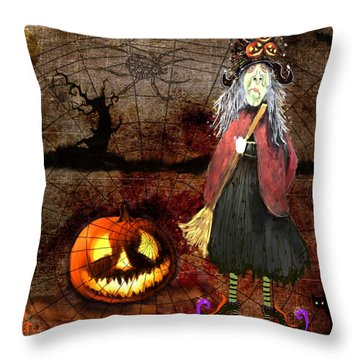Pumpkinella The Magical Good Witch And Her Magical Cat Throw Pillow