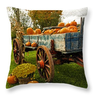 Pumpkins Throw Pillow by Bill Howard