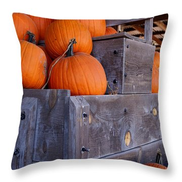 Pumpkins On The Wagon Throw Pillow by Kerri Mortenson