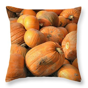 Throw Pillow featuring the digital art Pumpkins by Ron Harpham