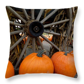 Pumpkins With Old Wagon Throw Pillow by Amy Cicconi