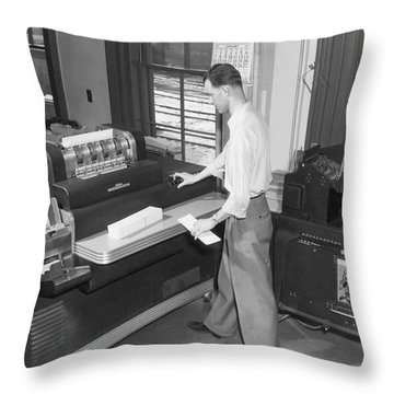 Punch Card Accounting Machines Throw Pillow