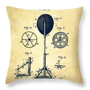 Punching Apparatus Patent Drawing From 1895 -vintage Throw Pillow by Aged Pixel