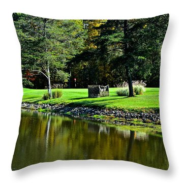 Punderson Golf Course Throw Pillow by Frozen in Time Fine Art Photography