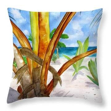 Punta Cana Beach Palm Throw Pillow