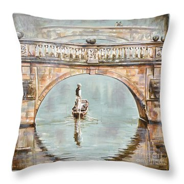 Punting On River Cam Under Clare Bridge Throw Pillow by Leigh Banks