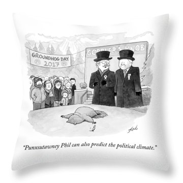 Punxsutawney Phil Can Also Predict The Political Throw Pillow