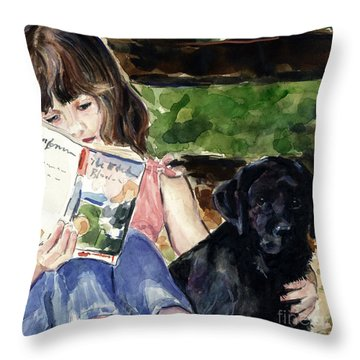 Pup And Paperback Throw Pillow by Molly Poole