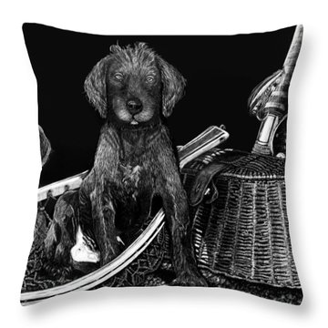 Puppies Are Ready To Go Fish Throw Pillow by Anderson R Moore